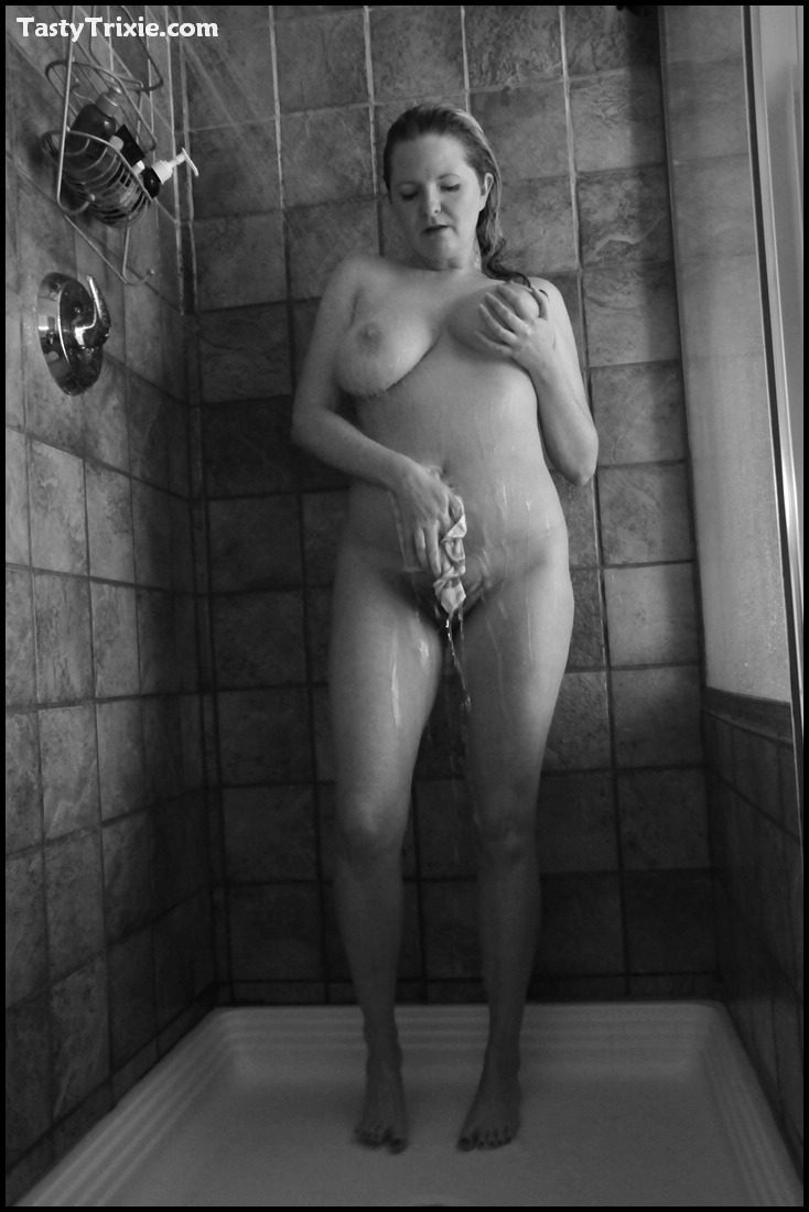 wet, soapy big natural titties in the shower